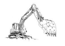 Gyckel för teckningen för arbete för grävskopaillustrationkonst skissar vektor illustrationer