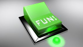 GYCKEL! grön för strömbrytare tolkning 3D på - vektor illustrationer