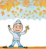 Gyckel i höstdagen - höstram stock illustrationer