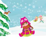 Gyckel i vinterdagen royaltyfri illustrationer