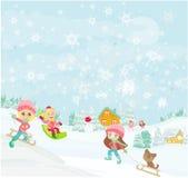 Gyckel i vinterdagen stock illustrationer