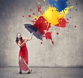 Gyckel med färger Arkivbild
