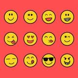 Gyckel- och leendeemoticon royaltyfri illustrationer