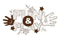 Gyckel och lek betitlad banerlogo, etikett, affischdesign med händer vektor illustrationer