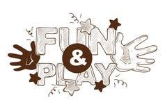 Gyckel och lek betitlad banerlogo, etikett, affischdesign med händer, bokstäver vektor illustrationer