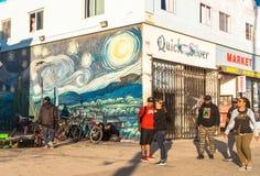 Gyckel och shoppar på den Venedig stranden, Los Angeles, Kalifornien, USA Turism i Kalifornien Arkivfoton