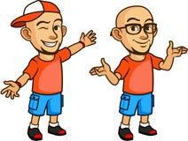 Gyckel och vänskapsmatch skalliga Geeky Guy Cartoon Arkivbild