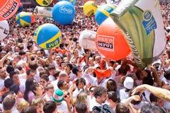 Gyckel på öppningen av festivalen i Pamplona Royaltyfria Foton