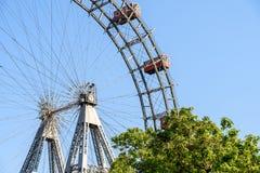 Gyckel parkerar Ferris Wheel In Vienna Prater som gyckel parkerar Arkivfoton