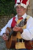 Gyckelmakaren som spelar gitarren Royaltyfri Bild