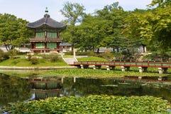 Gyeongbok Palace pagoda, Seoul, Korea, historic temple building Stock Photo