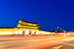 Gyeongbokgung Gate Street Twilight Trailing Lights Royalty Free Stock Images