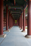 Gyeongbokgung Hallway Repeating Pillars Stock Image