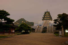 Gyeongbokgung Pagoda Mountain Night Stock Photography