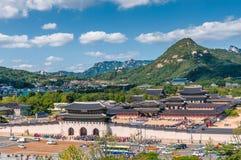 Gyeongbokgung Palace. Aerial view of Gyeongbokgung Palace in Seoul, South Korea royalty free stock images