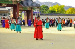 Gyeongbokgung Palace changing of guards show at the Imperial Palace of South Korea. Changing of Guard Event in Seoul Stock Image