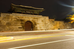 Gyeongbokgung Palace East Gate Trailing Lights Stock Photo