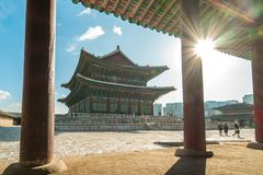 Gyeongbokgung Palace the famous place in Seoul city, South Korea stock photos