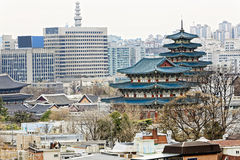 Gyeongbokgung, or the Palace of Felicitous Blessing, was the mai Stock Photography