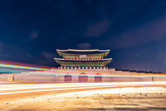 Gyeongbokgung palace gate at night -  Seoul,  Republic of Korea Royalty Free Stock Images