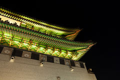 Gyeongbokgung palace gate shot at night - Seoul, Republic of Kor Stock Image