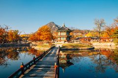 Gyeongbokgung Palace Hyangwonjeong with autumn maple in Seoul, Korea royalty free stock photography