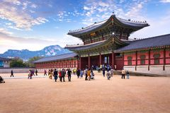 Gyeongbokgung palace with a lot of people and, Seoul, South Kore Stock Photo