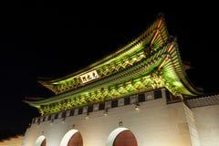 Gyeongbokgung palace main gate shot at night - Seoul,  Republic Royalty Free Stock Image