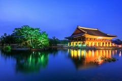 Gyeongbokgung Palace and Milky Way at night in Korea. Royalty Free Stock Photography