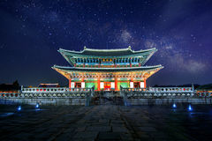 Gyeongbokgung Palace and Milky Way at night in Korea. Gyeongbokgung Palace and Milky Way at night in seoul,Korea Stock Photos