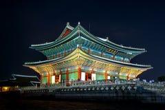 Gyeongbokgung Palace and Milky Way at night in Korea. Royalty Free Stock Photo