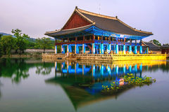 Gyeongbokgung Palace and Milky Way at night in Korea. Stock Photography