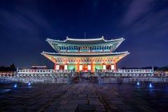 Gyeongbokgung Palace and Milky Way at night in Korea. Stock Photos