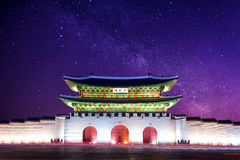 Gyeongbokgung palace and Milky Way in Seoul Korea. Stock Photos