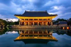 Gyeongbokgung Palace at night in Korea. Stock Photo
