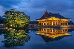 Gyeongbokgung Palace at night in Korea. Royalty Free Stock Photography