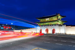 Gyeongbokgung palace at night in Seoul Korea. Stock Images