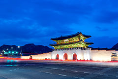 Gyeongbokgung palace at night in Seoul Korea. Royalty Free Stock Image