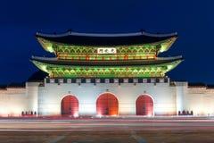 Gyeongbokgung palace at night in Seoul Korea. Royalty Free Stock Photos