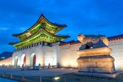 Gyeongbokgung palace at night in Seoul Korea. Stock Image