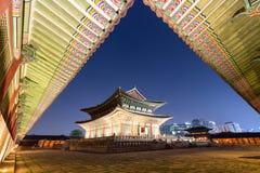 Gyeongbokgung Palace at night stock photography