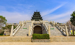 Gyeongbokgung Palace At Night In South Korea,. With the name of the palace `Gyeongbokgung` on a sign Stock Image