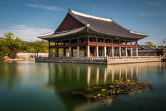 Gyeongbokgung Palace. One of the pavilions at Gyeongbokgung Palace in Seoul, South Korea, reflected in a pond stock photography