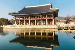 Gyeongbokgung palace with reflect. Stock Images