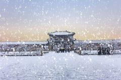 Gyeongbokgung Palace in winter Seoul,South Korea royalty free stock photography