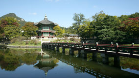 GYEONGBOKGUNG IN SEOUL. Hyangwonjeong Pavilion, is a small, two-story hexagonal pavilion built around 1873 by the order of King Gojong when Geoncheonggung stock image