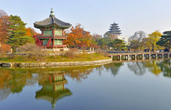 Gyeongbokgung slottjordning, Seoul, Sydkorea Arkivfoto