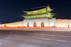 Gyeongbokgungs-Palast nachts in Seoul, Südkorea Lizenzfreie Stockbilder