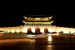 Gyeongbukgong By Night. A view of Gyeongbukgong at night. Strategically placed lighting gives the palace an alluring aura. The ancient palace  still stands today Royalty Free Stock Image