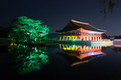 Gyeonghoeru in Gyeongbokgung palace at night -  Seoul city,  Republic of Korea Stock Photos